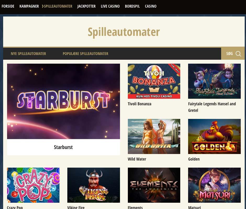 tivoli casino spilleautomater