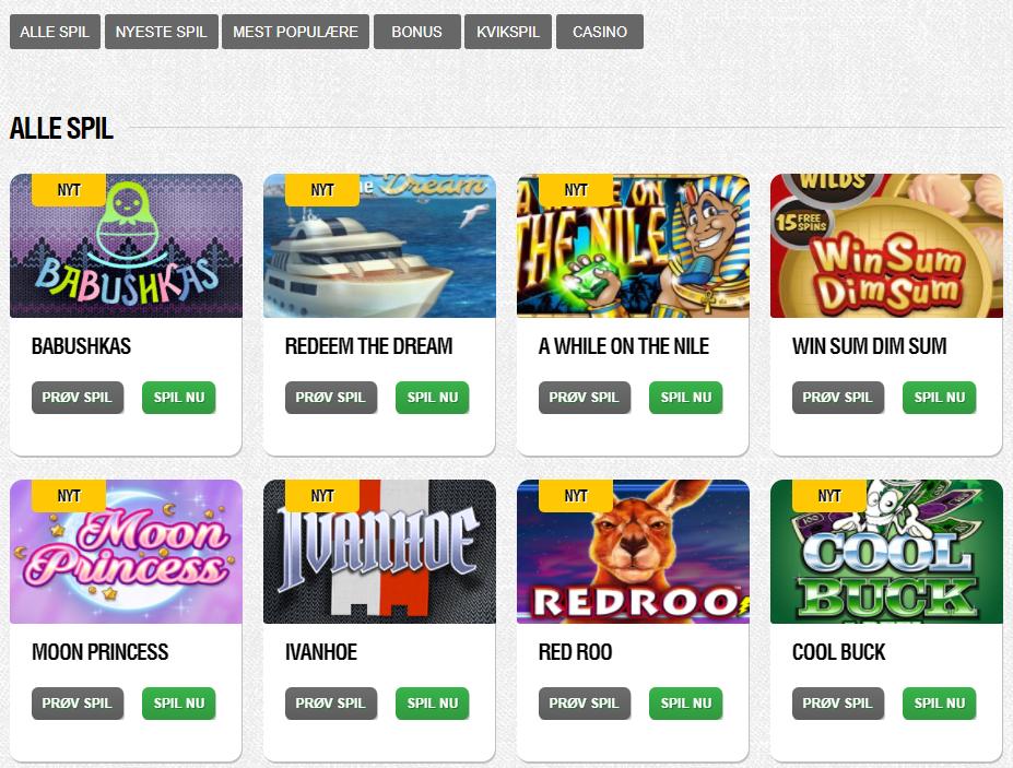 spilkategorier casinosjov