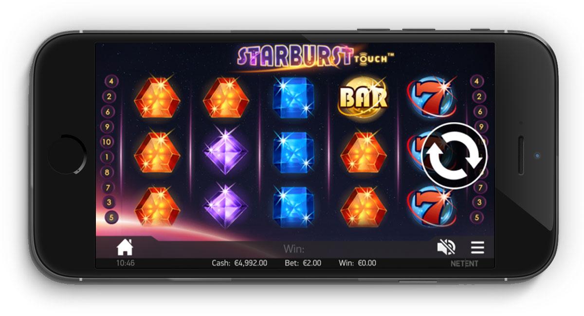 spil starburst på mobilen