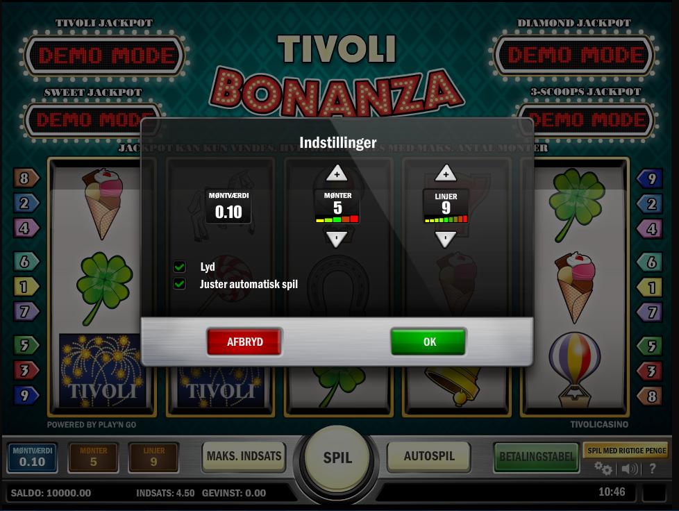 indstillinger tivoli bonanza